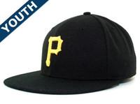 Wholesale kids flat baseball caps - Youth Classic Fitted Caps Baseball Cap Embroidered Team Flat Brim Size Hat Kids Fitted Hats Chapeu Masculino Bone De Beisebol