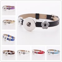 Wholesale watch charm bracelet european - Fashion Watch Band buckle 18mm Snap Button Leather Bracelet Crystal Flower Spacer DIY Interchangable Noosa Chunks Charms Jewelry Z84