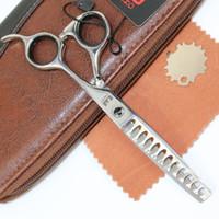 Wholesale Phoenix Big - PHOENIX 6 Inch hair scissors professional high quality 12 Big Teeth Thinning silver Shears Simple Pack