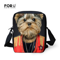 Atacado-Preppy estilo 3D animais Men's Travel Shoulder Bags Yorkshire Terrier Pet Dog Meninos Crossbody saco Kids Messenger Hand Bags Bolsas