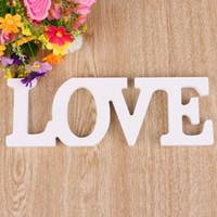 décoration de lettres en bois achat en gros de-Lettres d'amour en bois signe de mariage couleur blanche pure décoration de mariage anniversaire et cadeau de fête livraison gratuite
