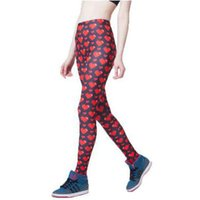 Wholesale Maid Clothing - Red heart skinny pants Lovely maid leggings tight Maiden fitness wear Black milk Outdoor sportwear Sport gym clothing