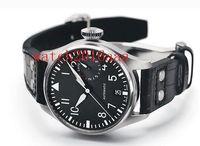 Wholesale Eta Movement Watches - 2017 Top Quality Luxury Wristwatch Big Pilot Black Dial Leather Mechanics Mens Watch IW500901 Automatic Asia ETA Movement Men's Watch Watche