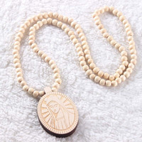 Wholesale Indian Wooden Pendants - Wooden Virgin Mary Pendant Necklace Fashion Goodwood Hip Hop Jewelry Trendy Rosary Necklace For Christian Catholic Christmas Gift