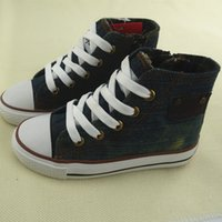 Wholesale Baby Casual Shoes High - Koovan Children Sneaker 2017 New Spring Children's High Top Canvas Baby Boys Girls Sports Fashion Boots Kids Jean Canvas Shoes Casual