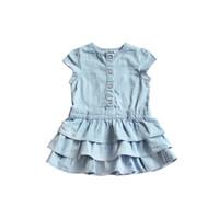 Wholesale Girls Denim Tutu Skirt - New Baby Girl Clothes Denim Solid Tutu Girl Dress Flying Sleeveless 9-36M Summer Party Skirt Children Kids Clothing