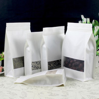 Wholesale Gusset Bags Wholesale - 50pcs lot Ziplock Stand up White Kraft Paper Bag with clear Window Side Gusset Pouch Food packaging