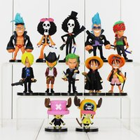 Ein Stück Luffy / Roronoa / Zoro / Sanji / Chopper / Robin / Brook / Nami PVC Action Figur Collection Modell Spielzeug 12pcs / lot
