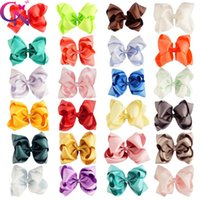 Wholesale Double Bow Clips - 24pcs lot 6 inch Solid Stack Hair Bows Boutique Double Stacked Hair Bow Baby Girls Hair Accessories With Alligator Clip