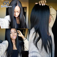 Wholesale Yaki Swiss Lace Front Wigs - Natural Remy Human Hair Lace Front Wigs Hight Tempreture Resistant Synthetic Fiber Yaki Straight Swiss Lace 7A Full Lace Wigs