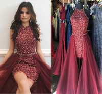 Wholesale Short Plus Size Party Dresses - Sparkly Maroon Red Short Prom Dresses Jewel Neck Sleeveless Crystal Beading Sheath Tulle Over Skirt Cocktail Party Dresses Pageant Dresses