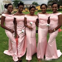 Wholesale Elastic Satin Pink Bridesmaid - Africa Style 2017 Off The Shoulder Bridesmaid Dresses Pink Elastic Satin Mermaid Wedding Guest Gown Maid Of Honor Formal Evening Dresses