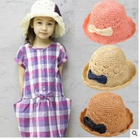 Wholesale Baby Pink Bow Tie - New Wholesale sell Girl Baby hat Knitwear Bow tie Princess straw hat Girl cap hat tide