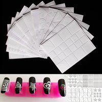 Wholesale Gel Transfer - 12 Style Nail Art Hollow Stencil Guide Sticker Set Gel Polish French Smile 3D DIY Image Foil Transfer Strip Template Form Decals