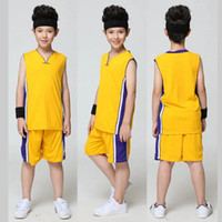 Wholesale Wholesale For Kids Sport Jersey - Blank Basketball Jersey for Kids Training Shirt Set Children Sports Suit School Basketball Team Uniform Boys Running Clothes QT032