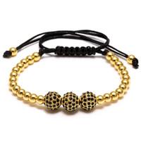 Wholesale Beads 4mm String - 2017 Fashion hot colorful string Bracelets 4mm copper round beads 8mm zircon bracelet for sale in chain adjustable bangle bracelets for men