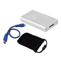 Wholesale Usb Msata Case - Wholesale- Mini mSATA to USB 3.0 SSD Hard Disk Box External Enclosure Case with Cable