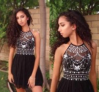 Wholesale Chiffon Pageant Cocktail - Luxury Crystals Beaded Halter Neck Short Black Homecoming Dresses 2017 A Line Chiffon Open Back Mini Cocktail Prom Gowns Pageant