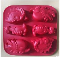Wholesale Silicone Molds For Candles - Creative 6holes big dinosaurs Cake Mold Silicone Soap Mold For Handmade Soap Candle Candy bakeware baking moulds kitchen tools ice molds