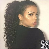 Wholesale ponytails online - New arrival kinky curly Ponytail Hair Extension real Human Hair drawstring Pony tail Hairpiece g g natural black b