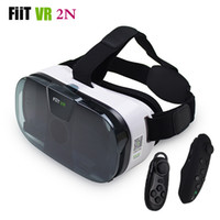 Wholesale Virtual Video Goggles Glasses - Wholesale- FIIT 2N VR Glasses Headset 3D Box Virtual Reality Goggles Mobile 3D Video Helmet for 4.0-6.5 Phone+Smart Bluetooth Controller