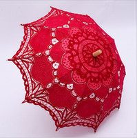 Wholesale Cheap Black Umbrellas - Cheap 2017 Colorful Embroidery Lace Parasols Handmade Umbrella For Photography Props 48cm Long European Bridal Accessories