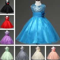 Knee-Length organic birthday cakes - DHL Free Size Colors Girls Party Wear Cake Dress Kids New Sequins Children Wedding Party Birthday Princess Bow Dresses Girls Kids Cloth