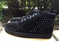Wholesale Studded Rivets High Platform - Fashion High Quality Flat Mens Shoes Casual Superstar Lace Up Men Trainers Rivet Spikes Studded Platform High Top Sneakers