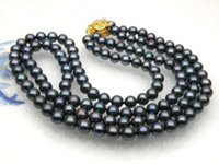 """Wholesale 8mm south sea pearls - FREE SHIPPING>> Details about 2 rows AAA+7-8mm Natural black south sea pearl necklace 14k yellow gold 18"""""""