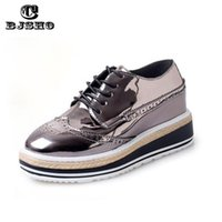 Atacado- CBJSHO New Style Plataforma de couro de patente Oxford Shoes para mulheres Chaussures de moda Femme Oxford Shoes Woman Brogues Flat Shoe