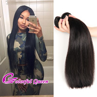Colorful Queen Grade 7A Bonne branche brésilienne Hair Straight Wave Bundles Cheap 4 Pcs Full Head Real Brazilian Hair Bundles Naturel Noir