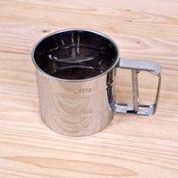 tamiz en polvo al por mayor-Taza de tamiz de harina robusta Tipo de presión de mano Polvo de acero inoxidable Tamizadora Herramienta de horneado redondo de calidad superior 5 3kn B R