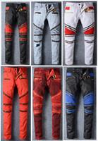 metall jeans herren großhandel-2016 neue Robin Mens Jeans Reißverschluss Klassische Gold Metall Wing Robins Mens Designer Jeans Biker Jeans Waschen Studded Cowboy Dünne Denim ...