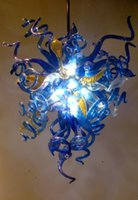 Luxo Murano Glass Chandelier Chain Living Room Economia de energia Pure Blue Ceiling Lights On Big Discount