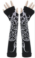 Wholesale Long Dance Sweaters - Wholesale- Black phoenix sweater Sexy Disco dance costume party lace fingerless long gloves arm warmer free shipping