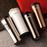 Wholesale Wholesale Starbucks Mugs - 4 Colors 500ml Creative Starbucks Mug Stainless Steel Vacuum Cup Luxury Car Business Mugs Fashion Creative Coffee Cups CCA7125 10pcs