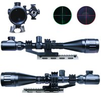 Wholesale Double Ring Rifle - Comob 6-24x50 Hunting Rifle Scope Mil-dot illuminated Snipe Scope&Red Laser Sight Double ring mount