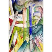 pinturas de montaña al por mayor-Pinturas modernas caballos Cabras montesas-Franz Marc Reproducción en lienzo pintado a mano