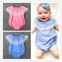 Wholesale Lace Rompers For Toddlers Wholesale - Baby Girls Ins Lace Collar Rompers Infants wrinkled collar solid color romper toddlers sleeveless outfits 2colors 4sizes for 1-3T