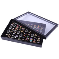 Wholesale earring cases - New Fashion Velvet Ring Earring Jewelry Display Tray Case Stand Storage Plastic Transparent Box Hot Sale