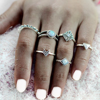 Wholesale Ancient African Jewelry - 6 pcs set Arrow Triangle Stone Midi Rings Ancient Silver Crystal Vintage Punk Bohemian Finger Ring For Women Boho Jewelry