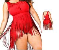 Wholesale plus size swimwear fringes online - Hot Fashion Swimsuit Plus Size Fringe Swimwear Women One Piece Tassel Swimsuit Sexy Bra Push Up Swim Underwear Bathing Suits