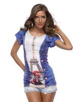 Wholesale Summer Cotton Shirts For Women - Wholesale- Women T shirt 2016 Summer Tops For Women Cotton T-shirts Print 3D Woman O-neck Shirt Eiffel Tower Tees New Arrivals Femme Tshirt