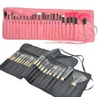 Wholesale Combination Tools Set - makeup brushes sets 24pcs set Synthetic hair Wood Handle Brush Kits Cosmetic tools Foundation brush and eyebrow Combination kit