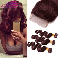 Hot Sale Unprocessed 99j Body Virgin Hair With Closure # 99J Malásia Cabelo Humano 3 Pacotes com encaixe encerramento 4Pcs Lot Red Hair