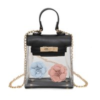sac à main transparent achat en gros de-Flower Fashion Transparent Clear Lady Sac à main Platinum Lock Sac à bandoulière Embrayage Satchel Sac fourre-tout en cuir féminin