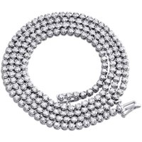 Wholesale Mens White Gold Necklace Chains - 10K White Gold Mens Prong Set 1 Row Genuine Diamond Chain Tennis Necklace 5 Ct.