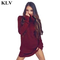 Wholesale Thin Dressed Sexy Girls - Wholesale- 9 Colors Autumn Winter Womens Casual Long Sleeve Jumper Turtleneck Sweaters Dress Girl Sexy Slim Knitwear Female Pullover Nov17