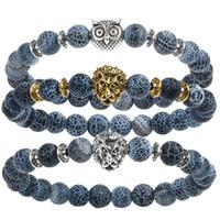 Wholesale 18k Gold Plated Leopard Bangle - Leopard Tiger Eye Lion Head Bracelet Owl Buddha to buddha beads Bracelets Bangles Charm Natural Stone Bracelet yoga Jewelry Unisex
