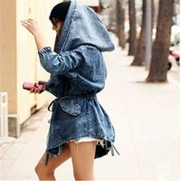 Wholesale Denim Hoodie Women - 2016Fashion Fall Women Jacket Denim Oversized Hoodie Hooded Outerwear Jean Wind Jacket Design Women Coat